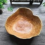 Frutero de Madera, Bandeja Rústica de madera maciza Grande para servir o decorar, Cuenco para ensalada de frutas de madera tallada en raíces, Cuenco para mezclar para la sala de estar, 25-29CM