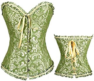SYMG Women's Court Corset, Lace Bow Corset, Body Shape Waist, Wedding Gown Bottom Girdle, Abdomen Girdle Corset, Exquisite Jacquard shapewear women (Size : XS)