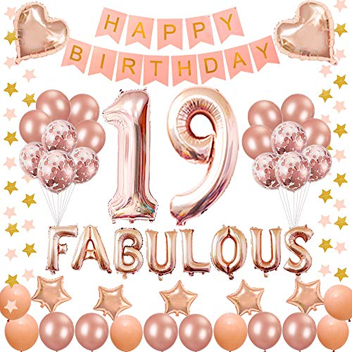 Succris 19TH Birthday Decorations - for 19 Years Old Birthday Party Supplies pink Happy Birthday Banner Rose Gold Confetti balloons Number 19 Star balloons and fabulous rose