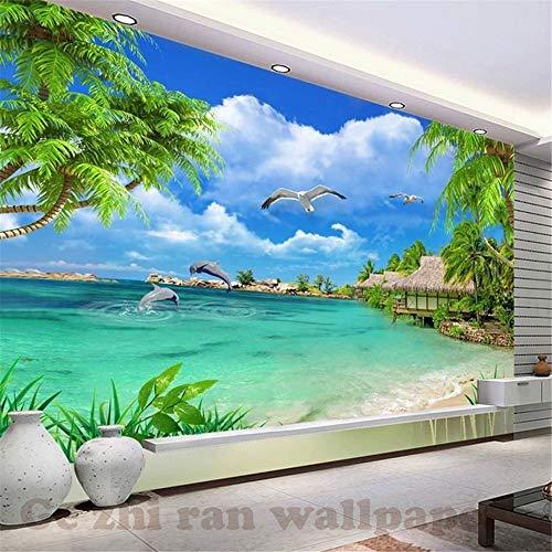 Zhcm Tapete 3D Tapete 3D Tapete Europa 3D natürliche Kokosnuss Landschaft Wohnzimmer Schlafzimmer TV SOFE Hintergrundbild, 200 * 140