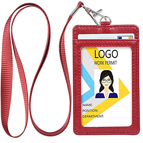 Leather ID Badge Holder, Vertical PU Leather ID Badge Holder with 1 Clear ID Window & 2 Credit Card Slot and a Detachable Neck Lanyard (Wine Red)