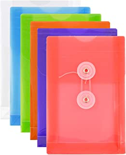 JAM PAPER Plastic Envelopes with Button & String Tie Closure - 4 1/4 x 6 1/4 - Assorted Colors - 6/Pack