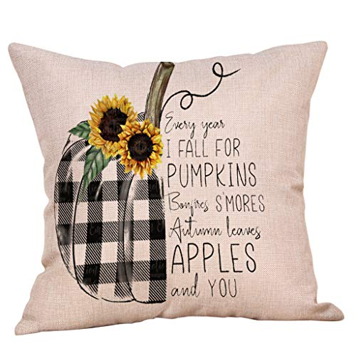 Zimuuy Halloween Element Faceless Doll Pumpkin Cushion Pillow Covers Halloween Decorations Retro (D)