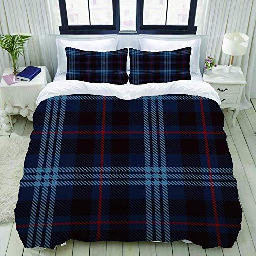 Funda nórdica, cuadros de tartán rojo, negro y azul, cuadros de franela con patrones de azulejos para escoceses, juegos de cama decorativos de 3 piezas con 1 funda de edredón y 2 fundas de almohada pa