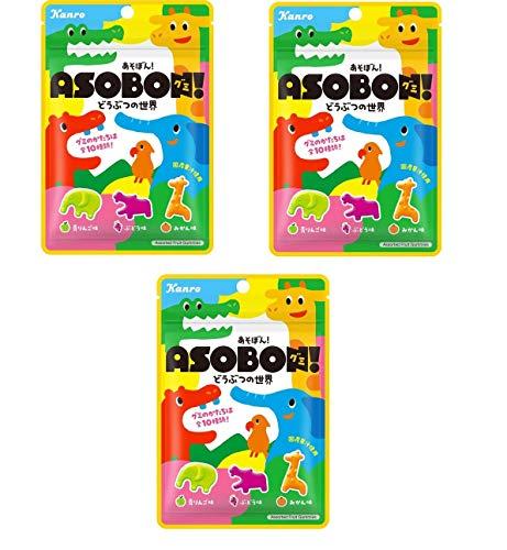 コンビニー限定 2021年4月 カンロ Kanro あそぼん! ASOBONグミ! どうぶつの世界 青りんご味 ぶどう味 みかん味 国産果汁使用 Assorted Fruit Gummies グミキャンデー 52gx3袋 食べ試しセット