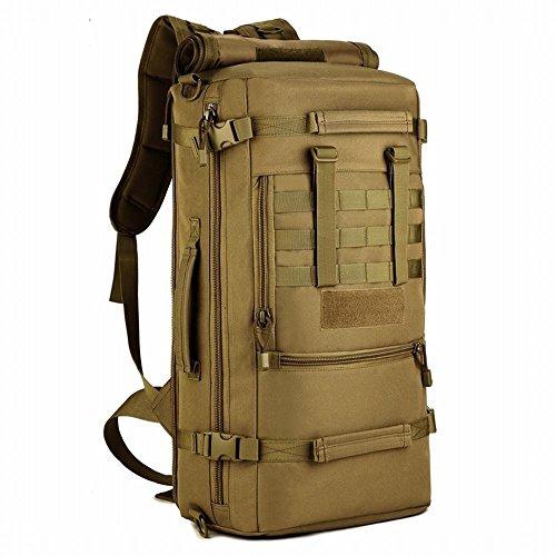 Selighting Taktischer Rucksack 50L Wasserdicht Molle Wanderrucksack Trekkringrucksack für Outdoor Wandern Trekking Camping (Braun)