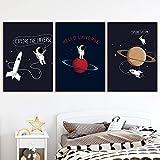 Wfmhra Dibujos Animados Planeta Universo Carteles e Impresiones de astronautas nórdicos Arte de Pared Pintura Mural habitación de los niños decoración del hogar 50X70cm sin Marco