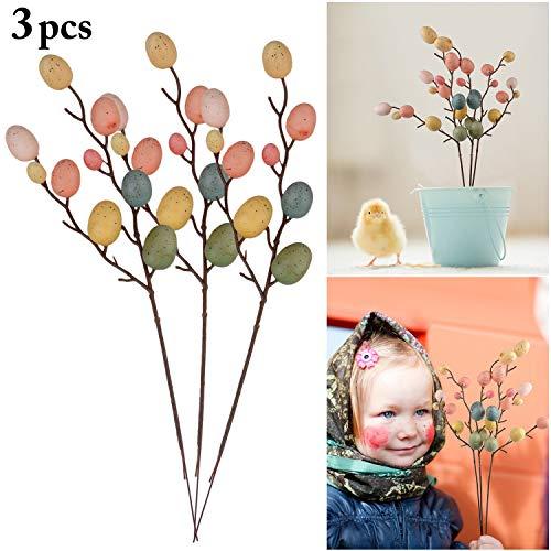FunPa 3pcs Decorazioni di Pasqua, Creative Branch con Uova di Pittura Easter Egg Decor Forniture di Pasqua per La Casa