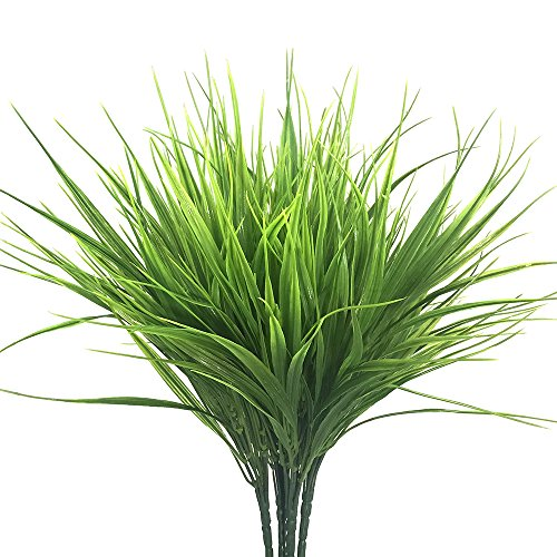SzJias 4pcs Artificial Fake Grass Faux Plastic Wheat Grass UV Resistant Simulation Artificial Plants Greenery Flowers for Garden Floor Office Wedding Home Party Decor