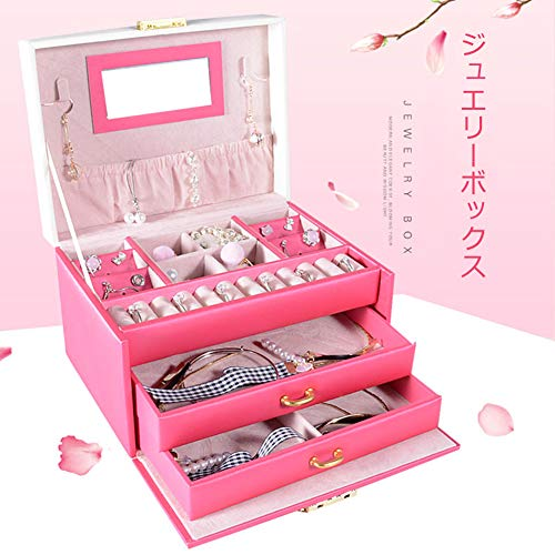 SZTulipジュエリーボックスアクセサリーケースジュエリー収納大容量鏡鍵付き小物入れトレイ付き宝石箱PUレザー