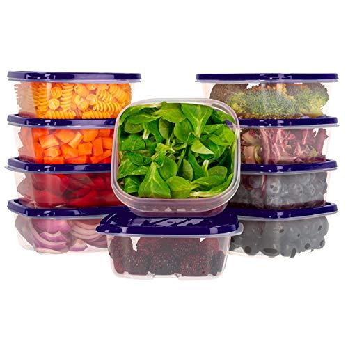 Oursson Recipiente de Almacenaje de Alimentos hermético sin BPA - Recipientes Multiusos - Reutilizables - Recipientes para Snacks Transparentes con Tapas de Color Púrpura, CP5081S/SP (10 x 400 ml)