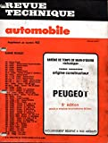 BAREME DE TEMPS DE MAIN-D'OEUVRE MECANIQUE DE LA REVUE TECHNIQUE AUTOMOBILE PEUGEOT 5 EME EDITION / 104 / 204 / 205 / 304 / 305 / 504 / 505 / 604 / J5 / J7 / J9