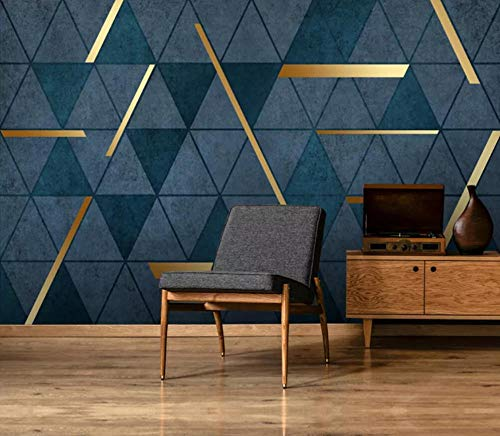 Fototapete 3D Tapete Abstrakter Goldener Geometrischer Einfacher Heller Luxus Modern Tapeten Vliestapete 3D Effekt Wandbild Wanddeko Wandtapete