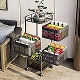 Almacenamiento de cocina Rack Vegetal Rack Tier Utility Carrito con ruedas, estante de vegetal de almacenamiento giratorio, estante de almacenamiento de piso multifuncional para cocina de baño dormito