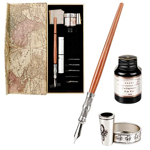 GCQUILL Kalligraphie Stifte Tinte Set Vintage und Handgemachte Holz Schreibfeder Federhalter mit einen Flasche Tinte Antike Dip Pen in Geschenkbox Perfekt für Anfänger