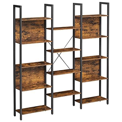VASAGLE Bibliothèque, Étagère de Rangement, avec 14 Compartiments, Cadre en métal, pour Salon, Bureau, Style...