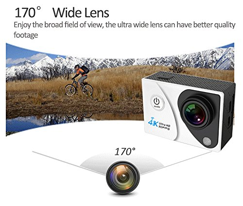 Mengshen 4K Ultra HD Sports Action Camera Waterproof WiFi Cam with 2 inch Screen 170 Degree Wide Angle Lens Q5HMei Black