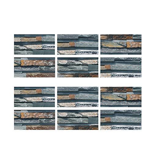 12 pegatinas adhesivas para azulejos de mosaico, adhesivos de colores, para manualidades, rollo adhesivo, impermeables, resistentes al aceite, para el hogar, cocina, baño, pared, puerta