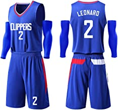 Leonard Clippers #2 Basketball Jersey Suit for Adults - Mesh Quick-Drying Sleeveless Fitness Sweatshirt T-Shirt Top Shorts Suit Or As A for Kids/Adults