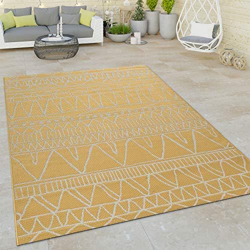 Paco Home Alfombra De Tejido Plano Interior Y Exterior Moderna Motivo Étnico Diseño Zigzag Amarillo, tamaño:160x220 cm