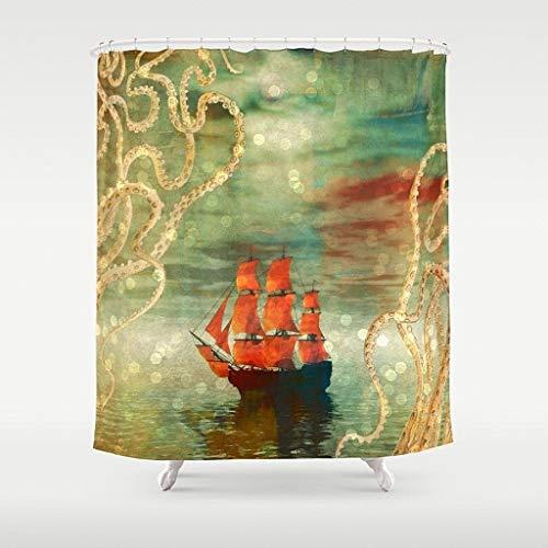 Qui556 Octopus Tentakel & Schiff Duschvorhang, weich, nautischer Stil, abstrakt, Ozeanblau