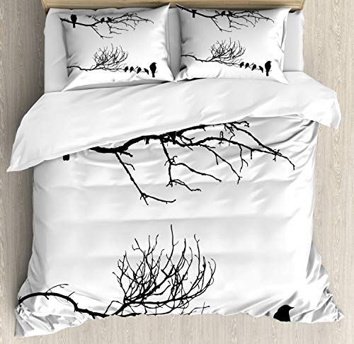 Lunarable Birds Duvet Cover Set, Monochrome Tree Branch with Ravens Silhouettes Abstract Sketch Style Bird Design, Decorative 3 Piece Bedding Set with 2 Pillow Shams, Queen Size, White Black