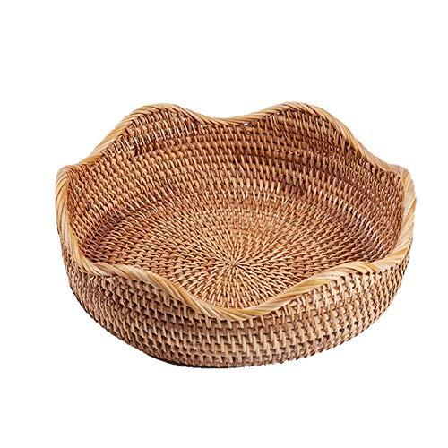 PR Oval Wicker Woven Korb Brotkorb Serving Korb, 10.2inch Lagerung Korb for Lebensmittel Obst kosmetische Speicher Tabletop Und Bathro (Color : Light Brown, Size : M)