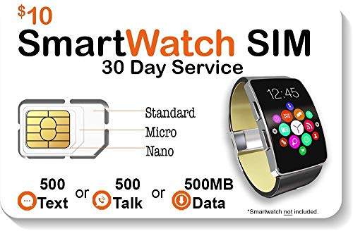 SpeedTalk Mobile Smart Watch SIM Card for 4G LTE GSM Smartwatches and Wearables - 30 Day Service - USA Canada Mexico Roaming