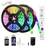 KALUO 12m LED Strip Lights W/3M Adhesive,Music sycn Color Changing with Bluetooth APP Control, LED Light Strips Kit Suit for Home, Bedroom, Kitchen,Party,Festival (12m(39.3ft))