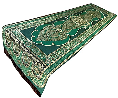 Blue Orchid Thai Table Runner with Fringe - Floral Bed Scarf with Embroidered Gold Brocade - Rectangle - 78x19 Inches (Green)