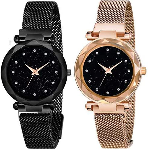 Acnos Black Round Diamond Dial with Latest Generation Purple & Rosegold Magnet Belt Analogue Watch for Women Pack of ...