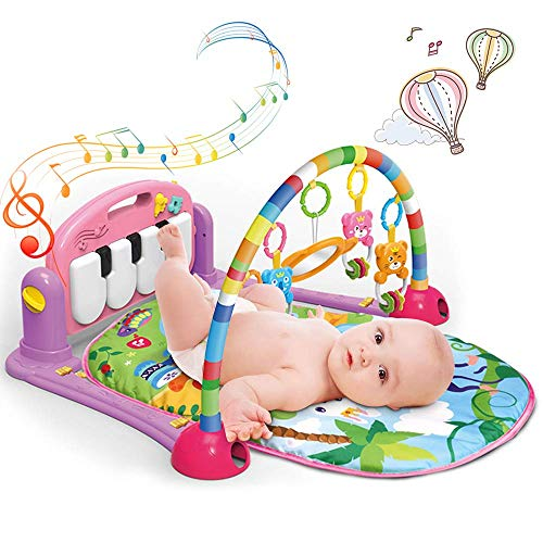 Play Mat Activity Gym for Baby, Maydolly Baby Game Pad Fitness Rack Crawling Mat with Hanging Toys, Lay to Sit-Up Play Mat Activity Center for Infants and Toddlers
