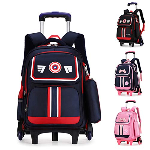 LHY EQUIPMENT Rolling Backpack, Campus Rolling Backpack Six Wheels Large Capacity Waterproof Rolling Backpack Travel Nylon Trolley Carry Stair Climbing Box