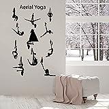 WERWN Pose Tatuajes de Pared Centro de Yoga aéreo Pose de Equilibrio Chica Hermoso Cuerpo Vinilo Etiqueta de la Ventana Gimnasio Mural Interior