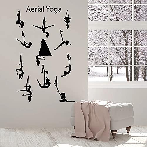 WERWN Posa Decalcomanie della Parete Aerea Yoga Centro Equilibrio Posa Ragazza Bel Corpo Vinile Adesivo per finestre Palestra Interno murale