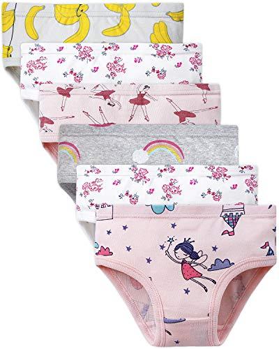 Adorel Mädchen Unterhosen Slips Baumwolle 6er-Pack Blumen & Burg 98-104 EU (Herstellergröße 110)
