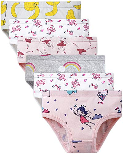 Adorel Mädchen Unterhosen Slips Baumwolle 6er-Pack Blumen & Burg 98-104 (Herstellergröße 110)