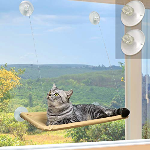 Window Cat Bed, Angela&Alex Cat Window Seat Window Perch Bed Hammock with 2 Extra Replaceable Suction Cups Space Saving All-Around 360° Sunbath Holds Up to 55 lbs for Any Cat Size