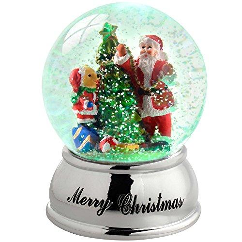 WeRChristmas-Palla di vetro con neve, Babbo Natale, albero di Natale cambia colore, in plastica, colore: multicolore, 10 cm