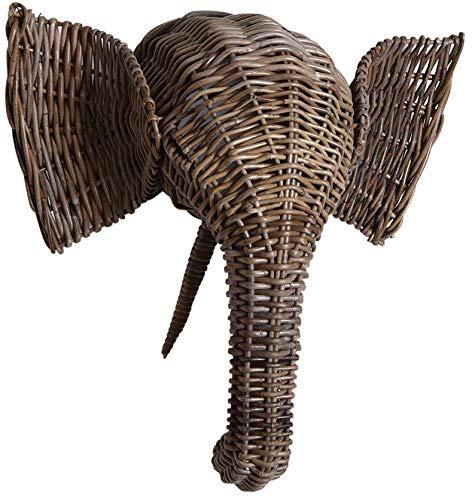 AUBRY GASPARD Trophée d'éléphant en poelet Gris