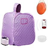 QingYi Portable Steam Home Sauna Foldable Steam Sauna Upgrade 2L Steamer, with steam Hose Herbs Kit Remote Control,Lightweight Tent, One Person Full Body Spa for Weight Loss Detox Therapy (Purple)