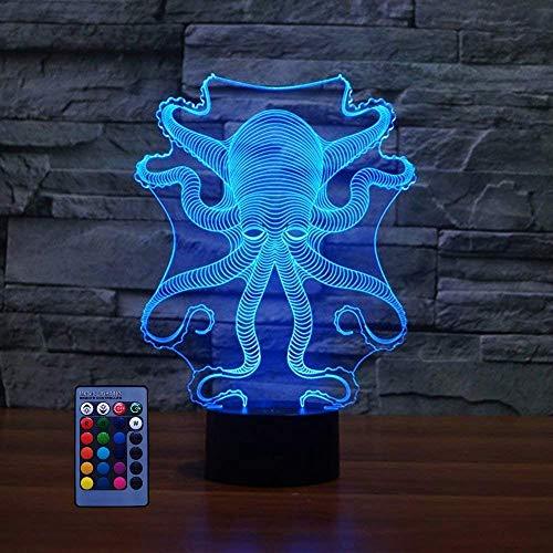 Lámpara pulpo 3D ilusión óptica 7/16 que cambia color, alimentada por USB, control remoto, lámpara LED, luces escultura artística, lámpara escritorio para niños, Navidad, hogar, amor, cumpleaños, ni