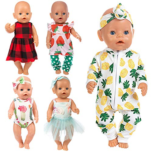 Ecore Fun 10 Item 14-16 Inch Baby Doll Clothes Dresses Outfits Pjs for 43cm New Born Baby Dolls, 15 Inch Bitty Baby...