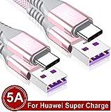 Sweguard Câble USB C Huawei Supercharge 5A [2m /Lot de 2] Chargeur Rapide Nylon Tressé pour Huawei Mate 30 P30 P20 P10 Pro Mate20 Lite Mate10 RS Mate9 P9 Plus,Honor 10 View 20,Pad M6 M5 Nova 5 (Rose)