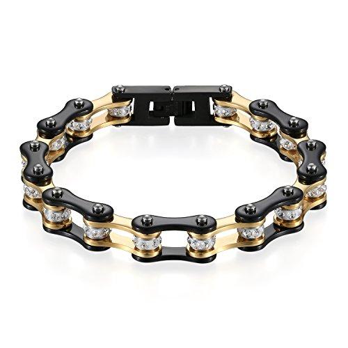 JewelryWe Schmuck Herren Armband, Top-Qualität Fahrradkette Motorradkette Hochglanz Poliert Armkette, Edelstahl Strass, Schwarz Gold