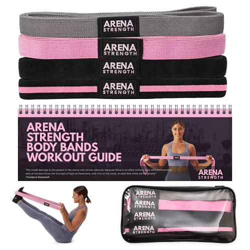 Arena Strength Long Fabric Resistance Bands - Full Body Resistance Bands Set of 4 and Pull Up Assistance Bands   Cloth Resistance Bands Loop with Fabric Exercise Resistance Bands Workout Guide