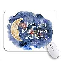 """ゲームマウスパッド私はあなたを愛しています月と背部水彩レタリング抽象芸術お祝いデザインお祝い9.5"""" x7.9""""ノートパソコン用の滑り止めのゴム製バッキングマウスパッドコンピュータマウスマット"""
