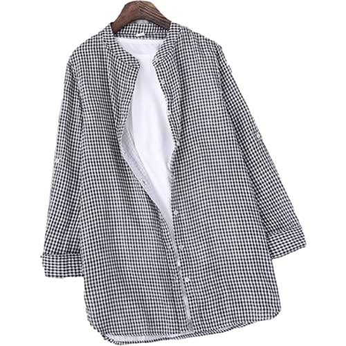 Camisa de Manga Larga para Mujer, Cuello Alto Informal, Camisa básica Holgada, cómoda y versátil, de Longitud Media, para Primavera y otoño S