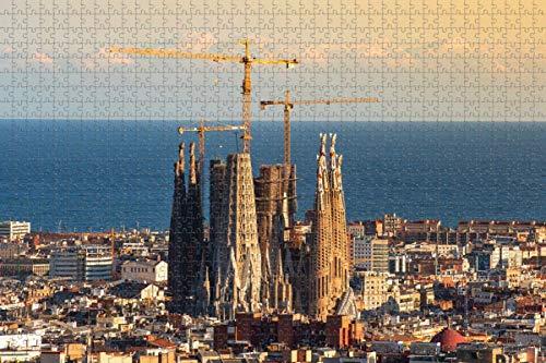 España Barcelona Rompecabezas para Adultos 1000 Piezas Regalo de Viaje de Madera Recuerdo