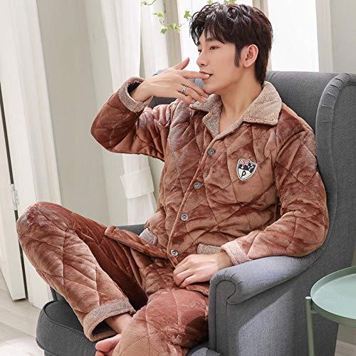 SleepWears Heren badjas pyjama van coral fluweel wintergewatteerd drie lagen gewatteerde jas voor heren van kasjmier